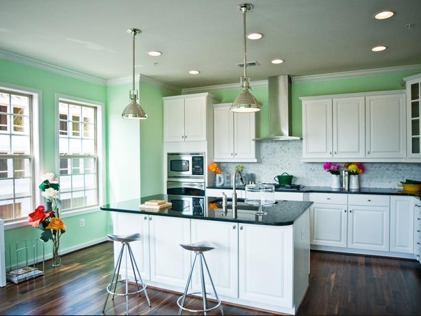 green-kitchen-stainless-pendent-lights