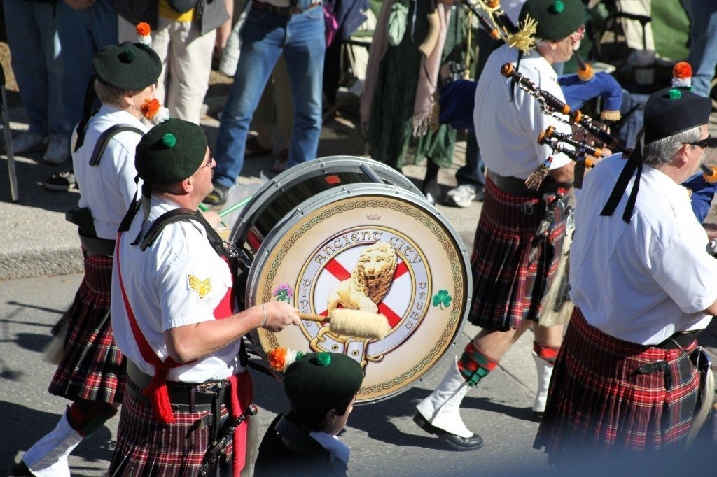 Pipes and drums groups march in the St. Augustine St. Patrick's Day Parade.