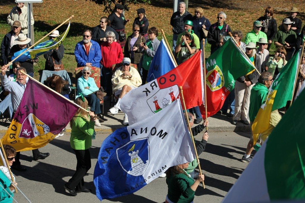 Celtic clans fly their flags in the St. Augustine St. Patrick's Day Parade.