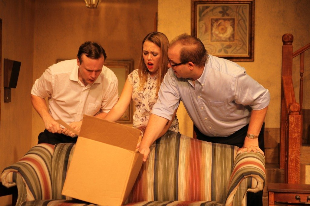 Micah Laird as Brian Runnicles, Kathryn Suddard as Frances Hunter, and Matthew Whaley as Peter Hunter in No Sex Please, We're British, on stage April 17 through May 10 at Limelight Theatre, 11 Old Mission Ave., uptown St. Augustine. Photo by Renee Unsworth