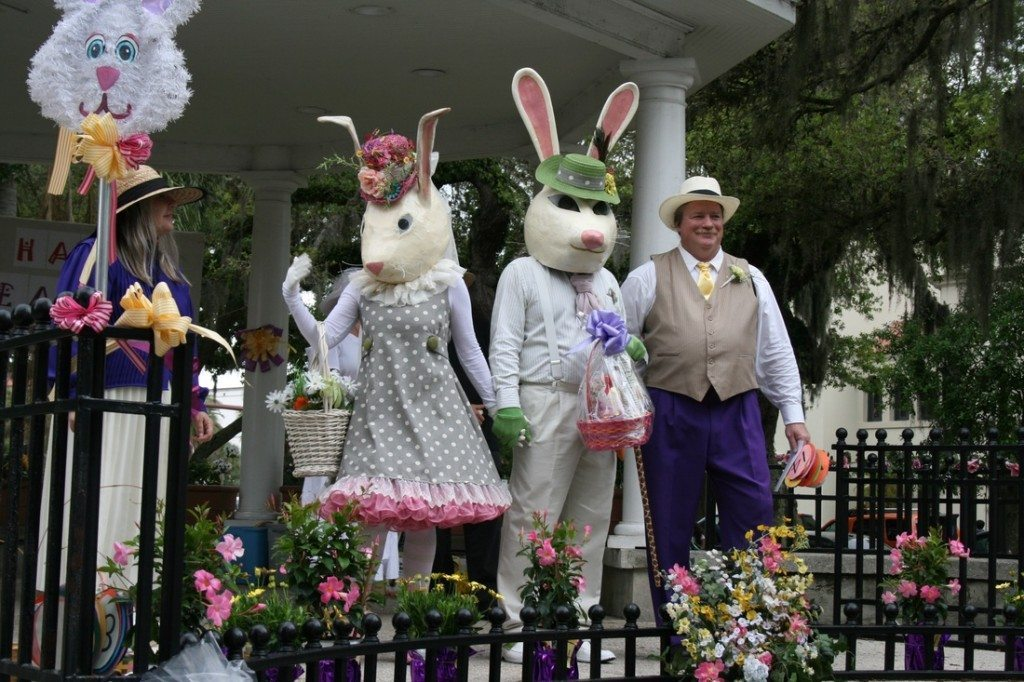 Mr. and Mrs. Easter Bunny show up at last year's event in the Plaza