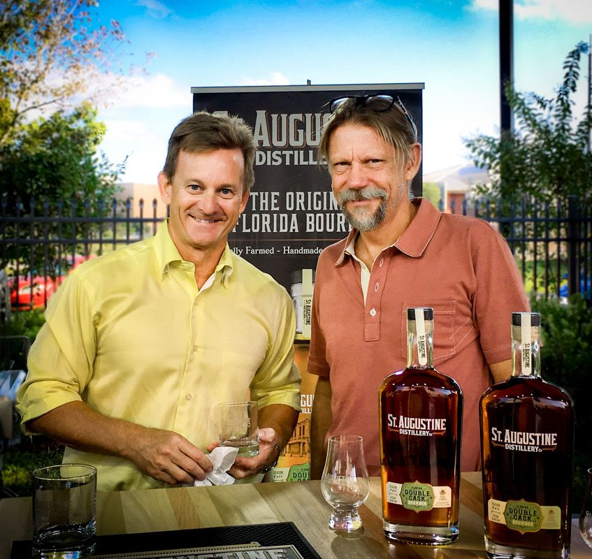 Mike Diaz and Philip McDaniel with their St Augustine Distillery Bourbon for St Augustine Social interview