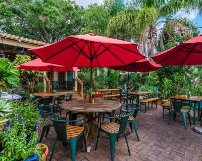 exterior outdoor seating at the floridian restaurant in st augustine
