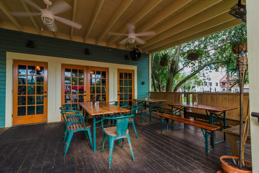 porch and outdoor seating of the floridian restaurant in st augustine