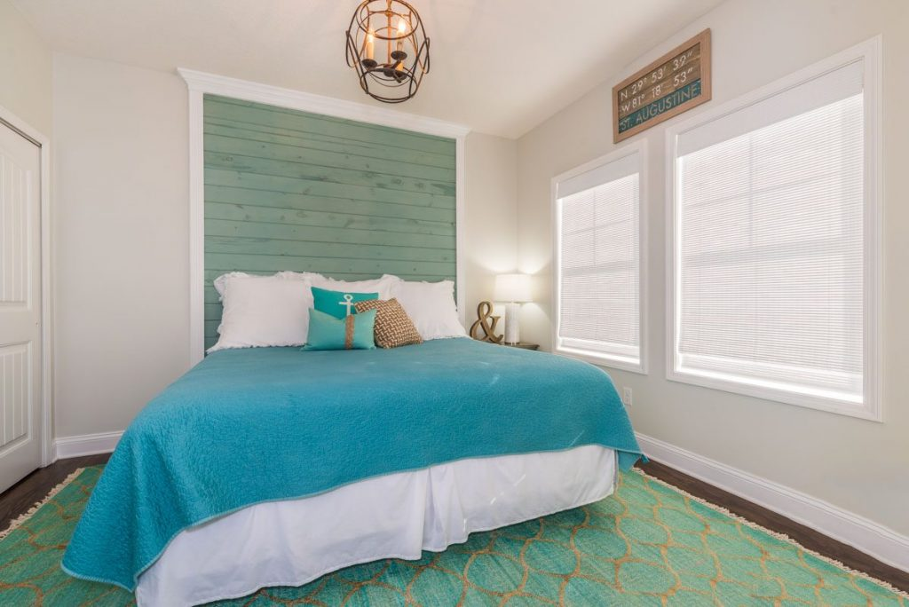 teal and green nautical master bedroom decor