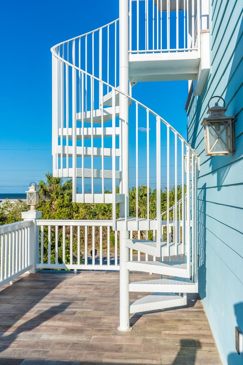outdoor spiral staircase st augustine beach home