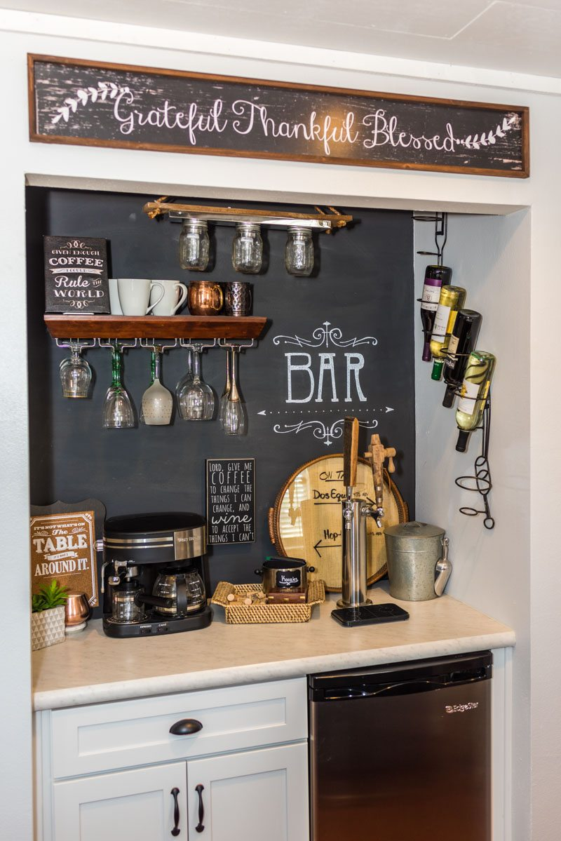 customized wet bar with chalkboard backdrop in las palmas condo st augustine