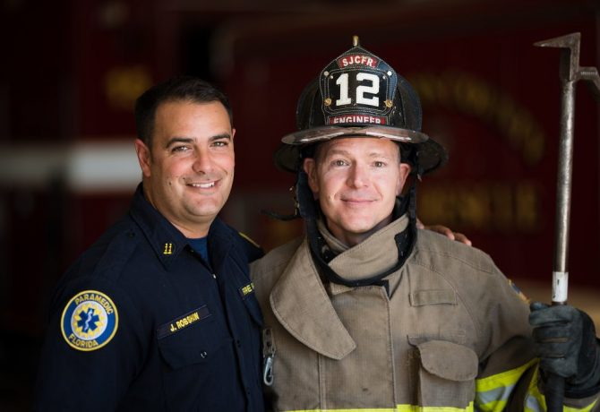 brian freeland firefighter of the year 2016 st augustine with his chief