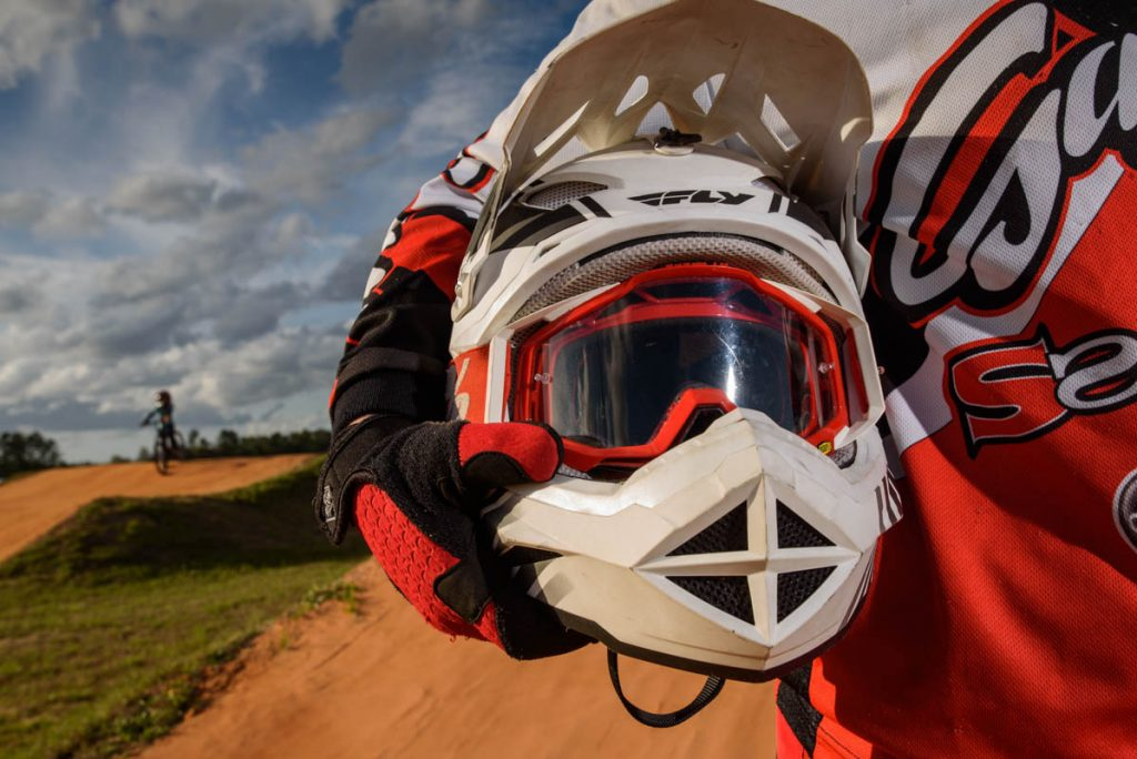 first coast bmx owner anthony sargent poses with helmet