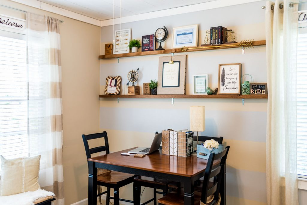 standing desk and open shelving in las palmas condo st augustine