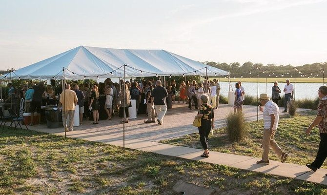 guests enter the tent at the guana tolomato matanzas research reserve oceanwise fundraiser 2017