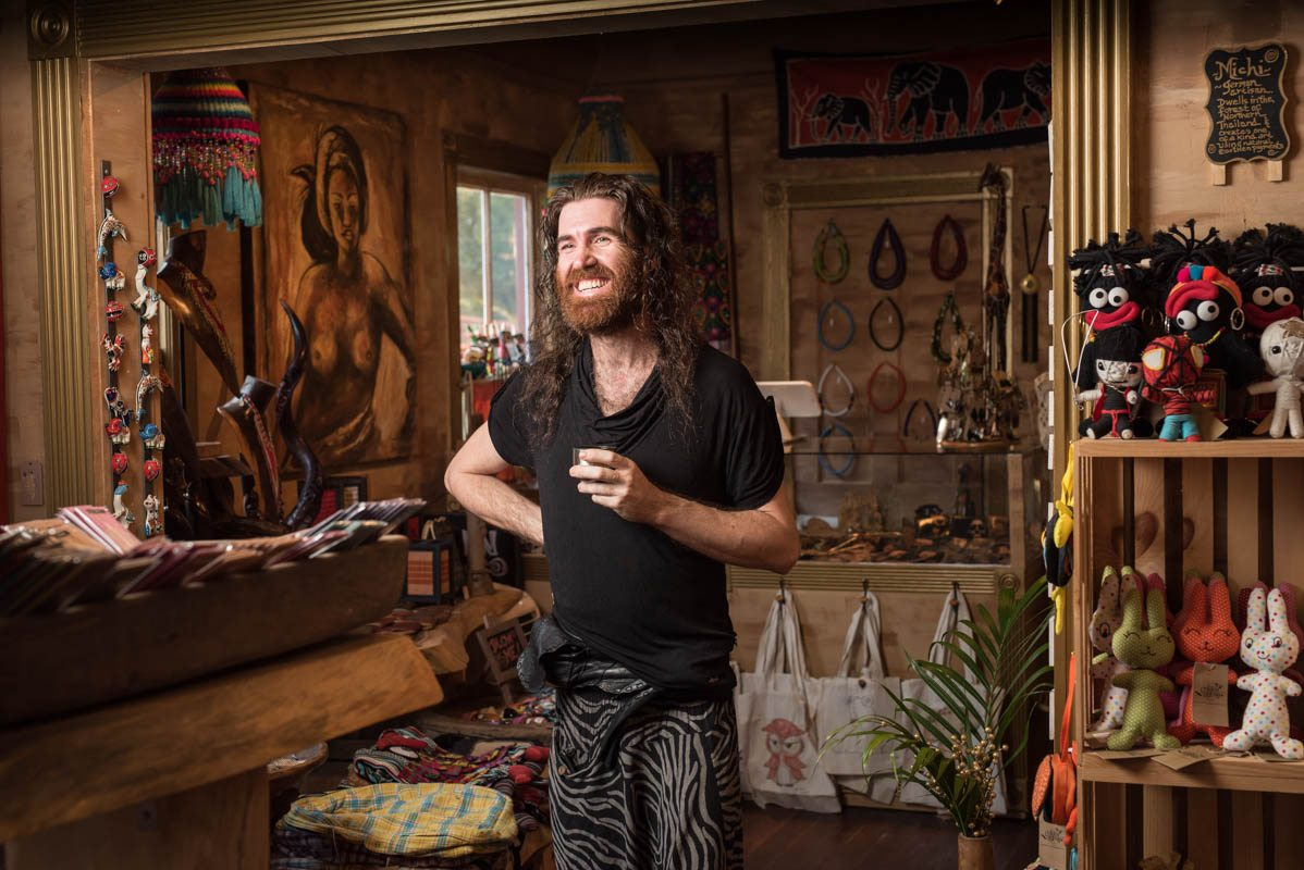jason relph owner of the golden gypsy stands in his shop