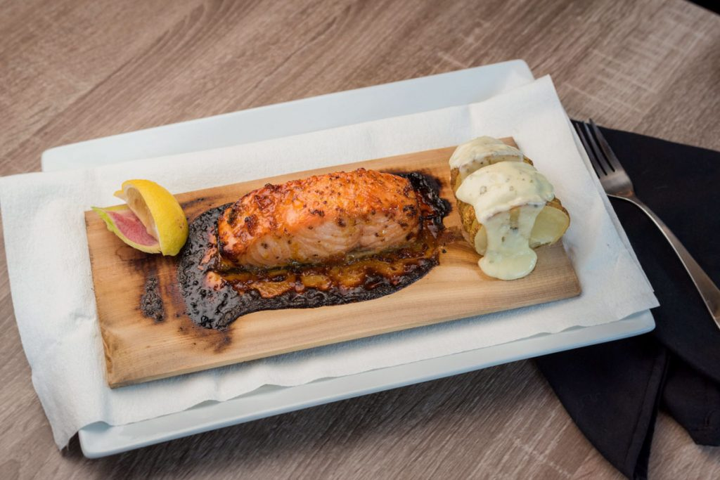 cedar plank salmon at elkhouse eatery
