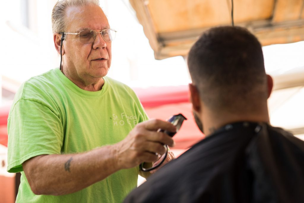 thomas o'sullivan cuts hair at st francis house in st augustine florida