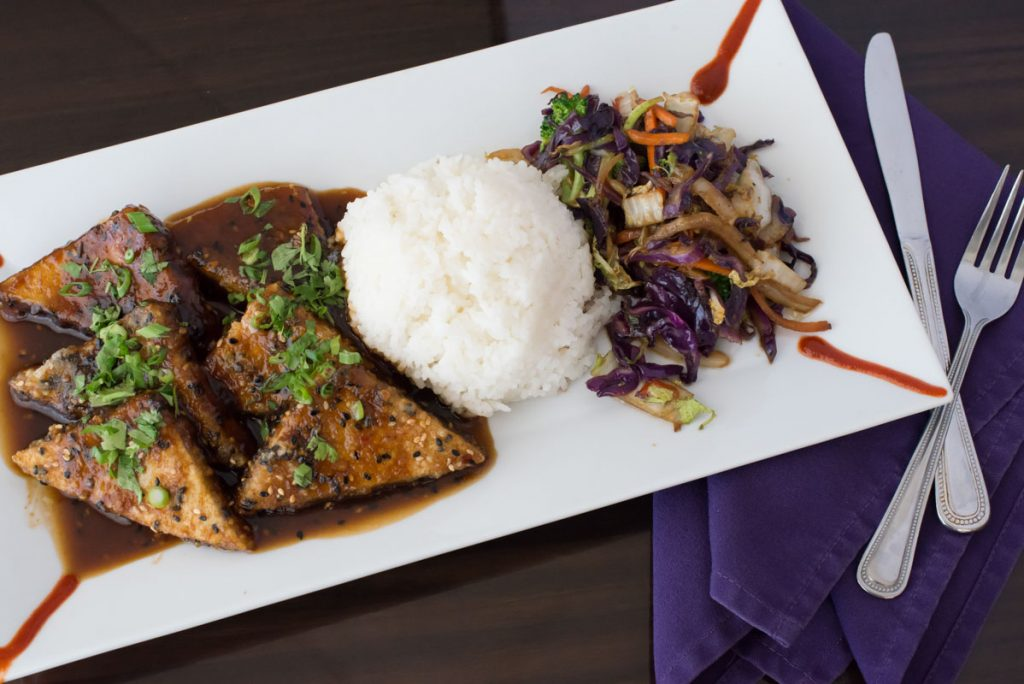 sesame ginger tofu dish at purple olive st augustine