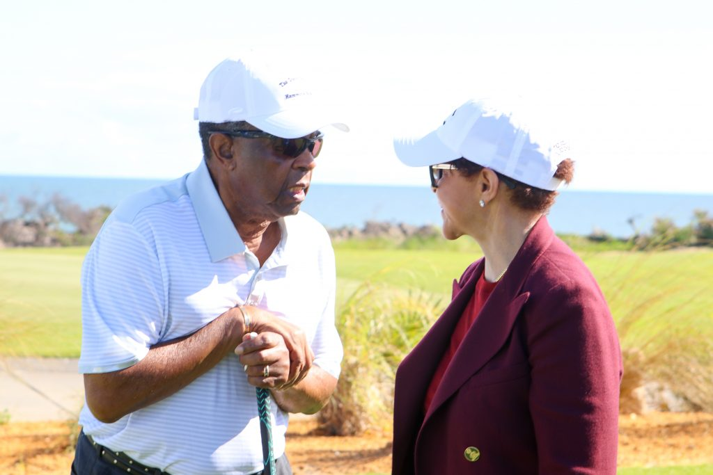 Lee Elder and Sheila Johnson chat on the Ocean course at Hammock beach resort