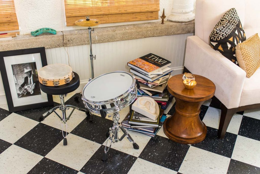 drum set in the sunroom of lincolnville st augustine home