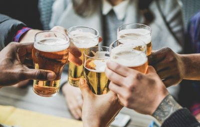 beer with friends stock image