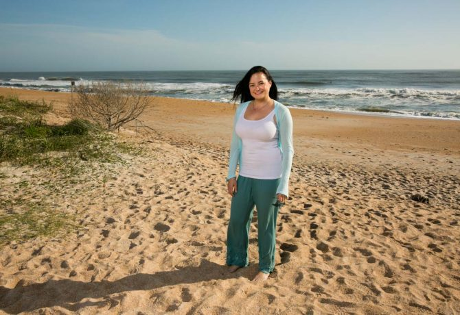 jessica gott of north florida coastal caretakers stands on vilano beach