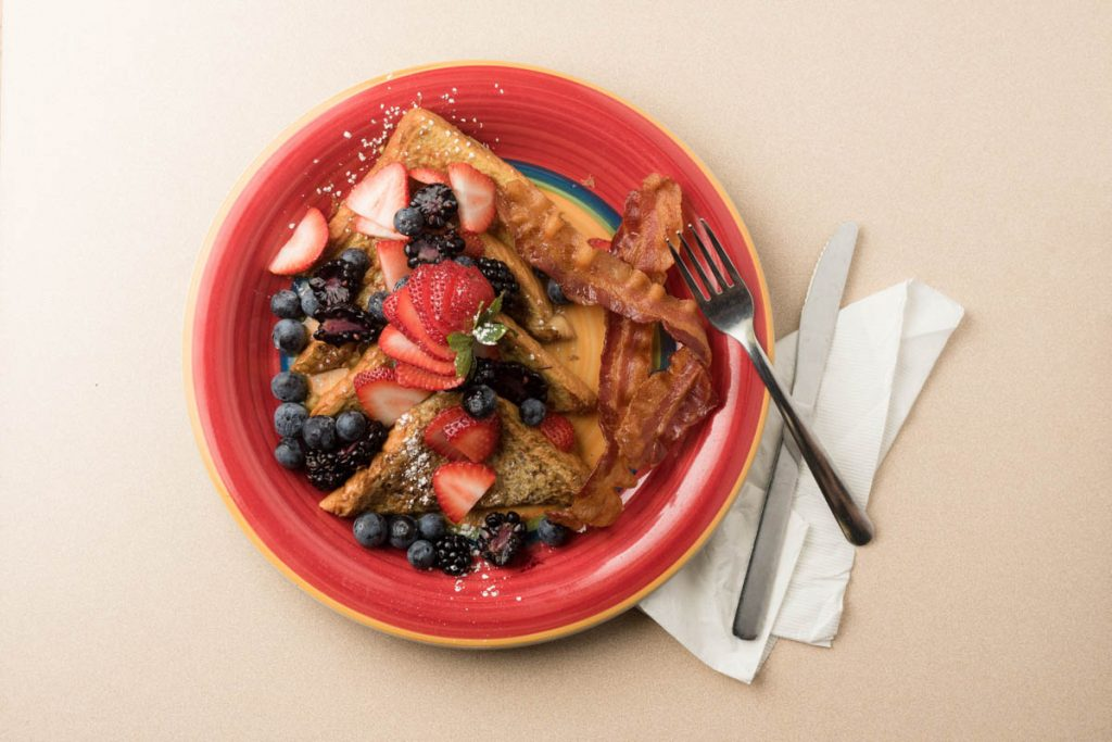 overhead shot of french toast at sea oats caffe in st augustine