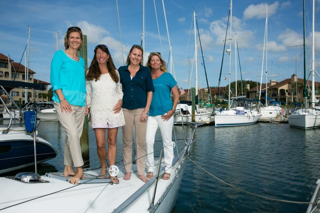 st augustine sailing sisters aboard a boat in camachee cover yacht habor