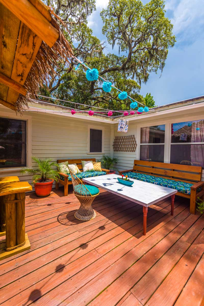 backyard tiki bar of mid century st augustine home