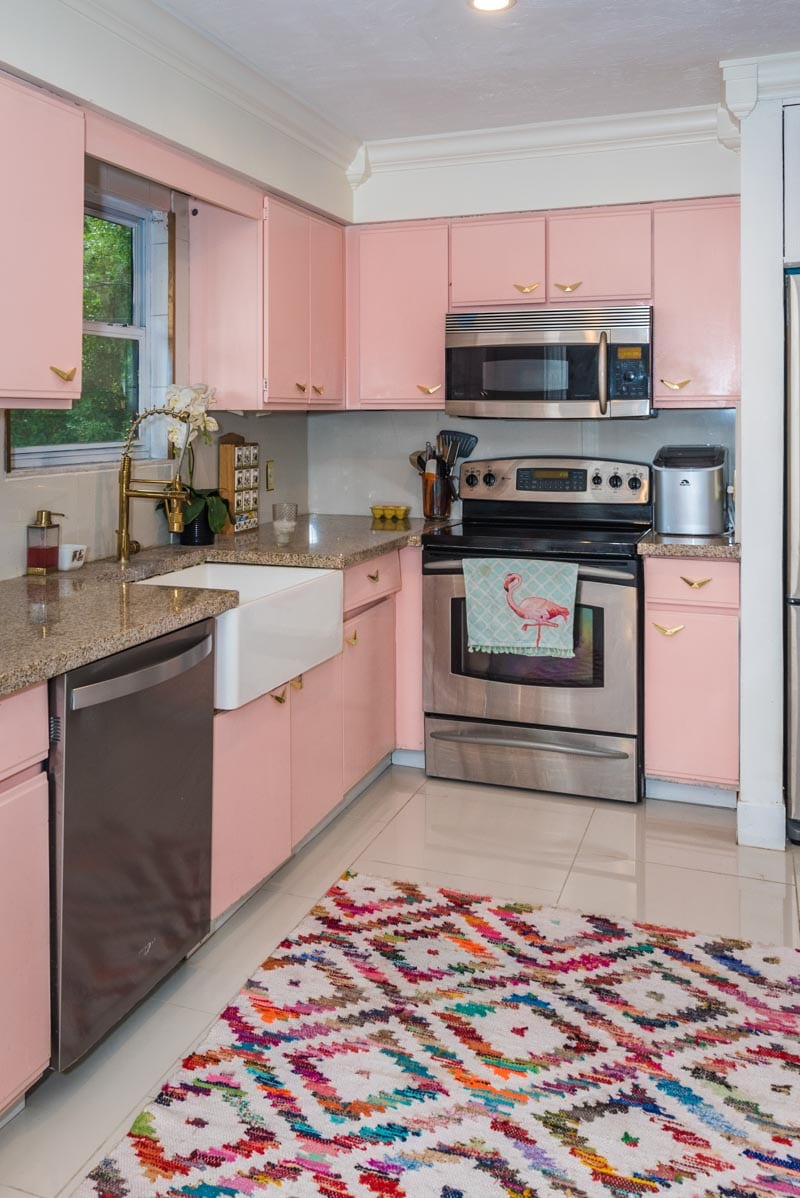 pink kitchen mid century atomic