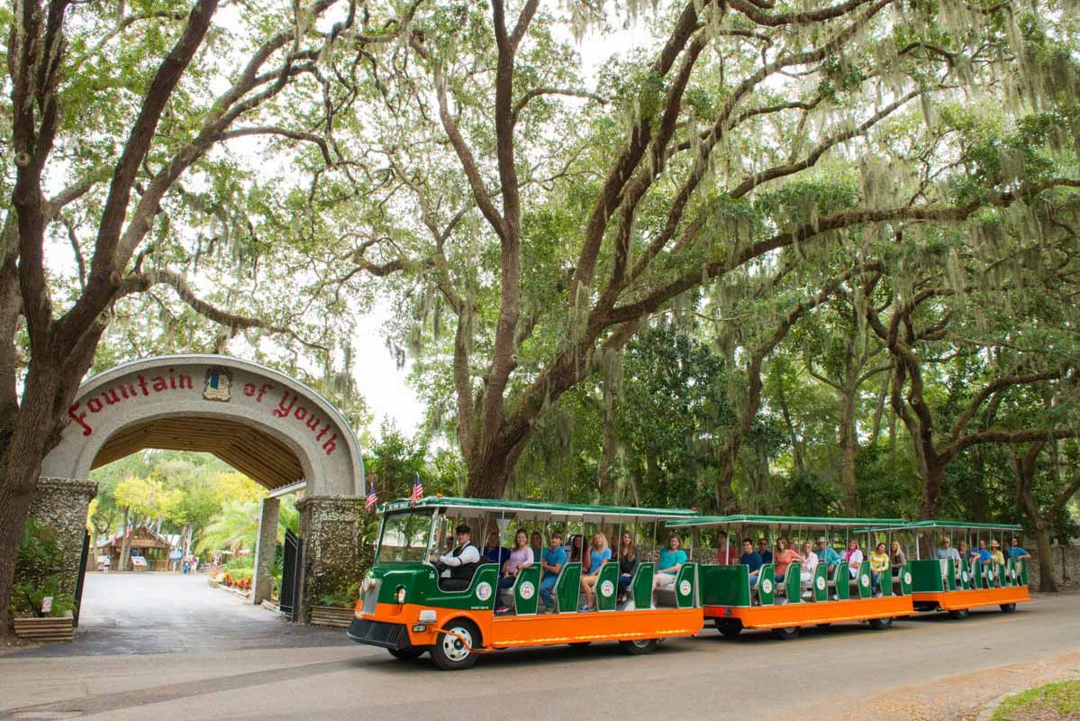 old town trolley tours in front of the fountain of youth in st augustine
