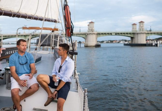two guests aboard the schooner freedom in st augustine