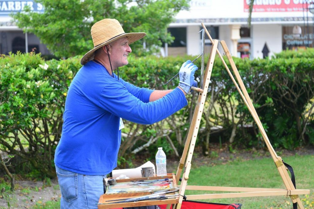 an artist during the plein air paint out in st augustine
