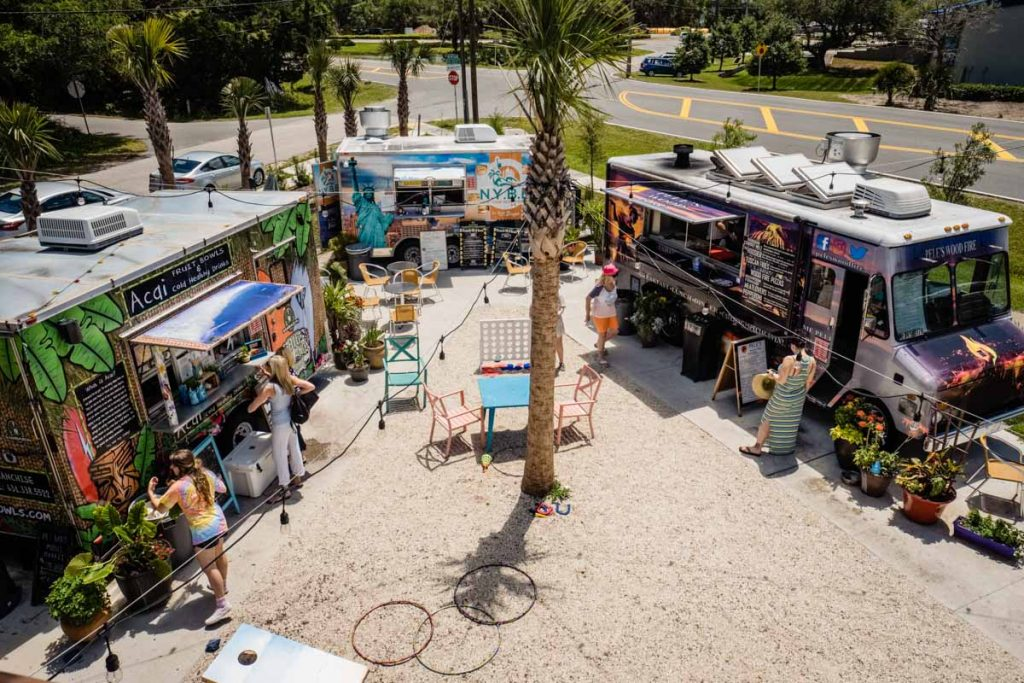 overhead shot of village garden food truck park
