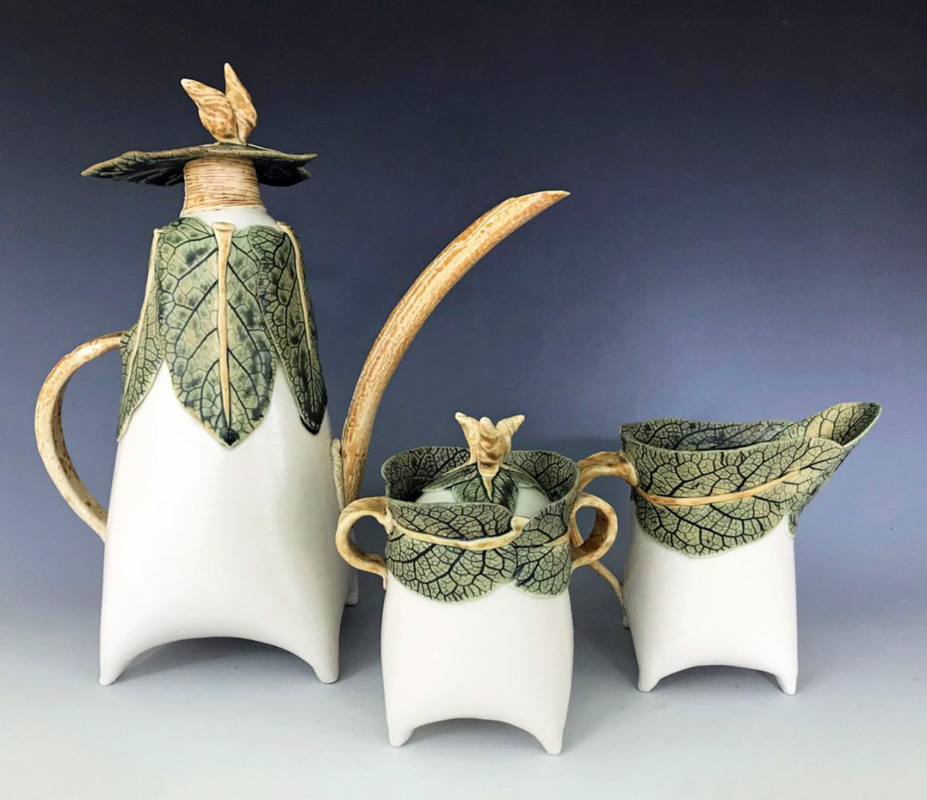a decorative leaf tea set featured at the st augustine festival of art
