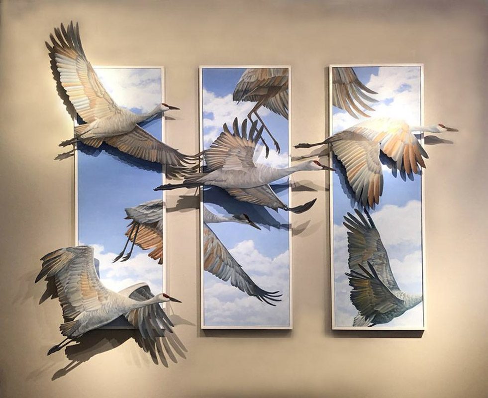 a 3d flying bird tryptic featured at the st augustine festival of art
