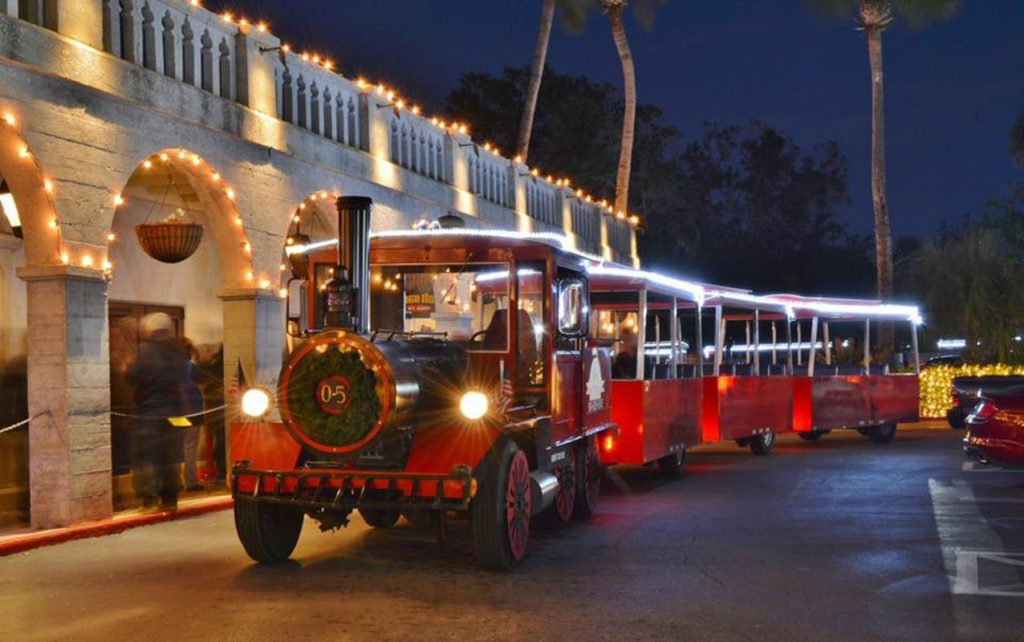 red train tours during nights of lights