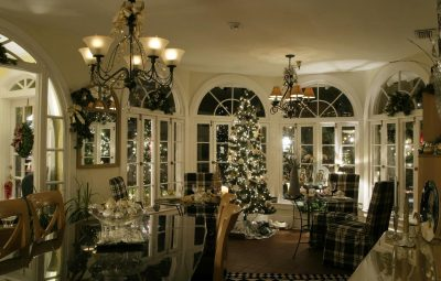 the interior of a historic inn st augustine decorated for christmas