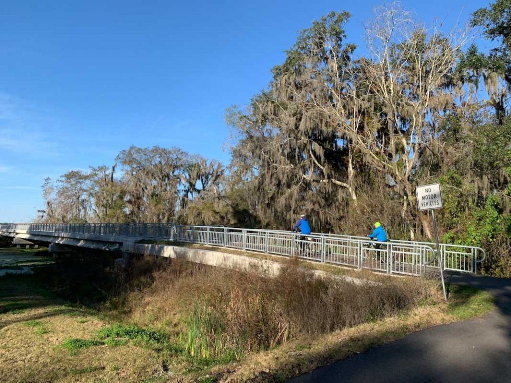 the trailhead of the cora c harrison trail in st johns county