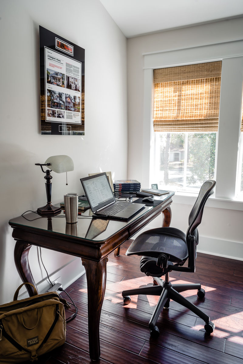 desk in the bedroom of longleaf house in st johns county