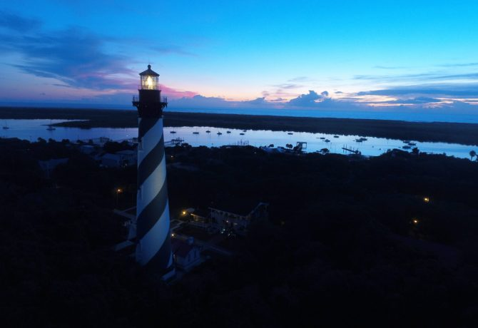 st augustine lighthouse aerial view at sunset