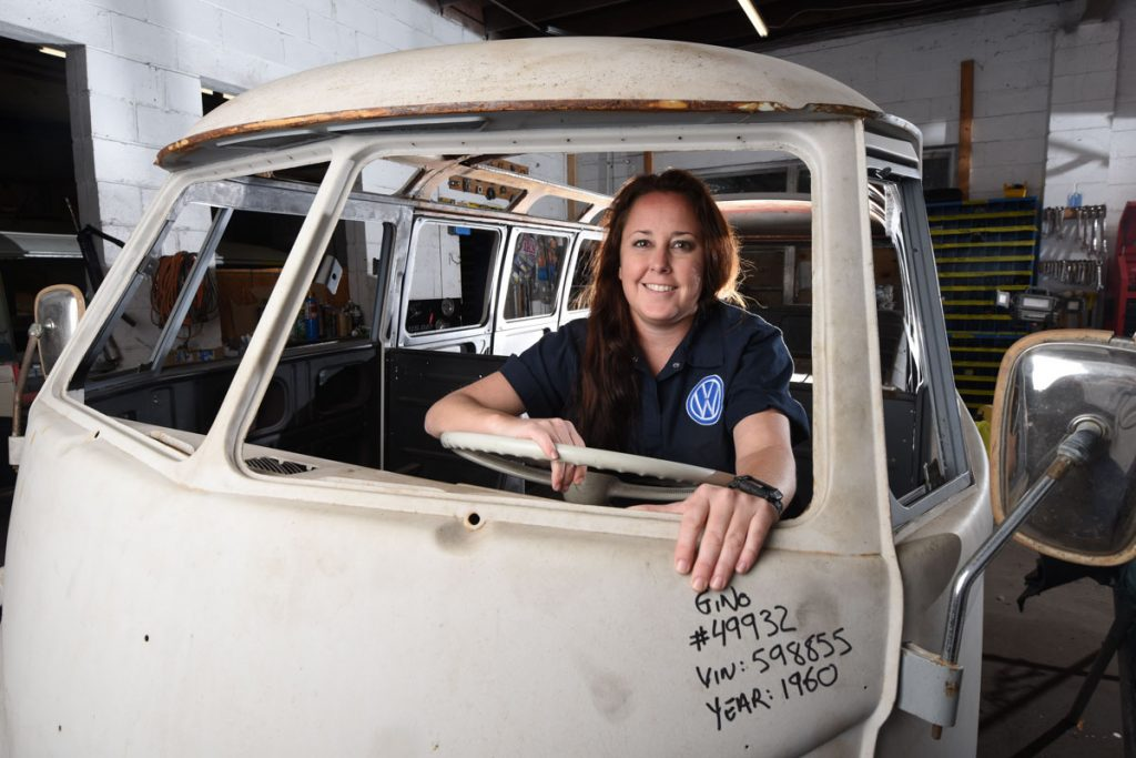 fallon taylor and an unfinished vw van