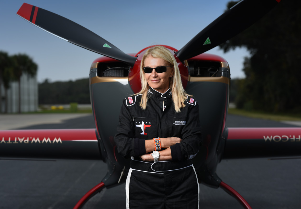 stunt pilot patty wagstaff and her airplane in st augustine