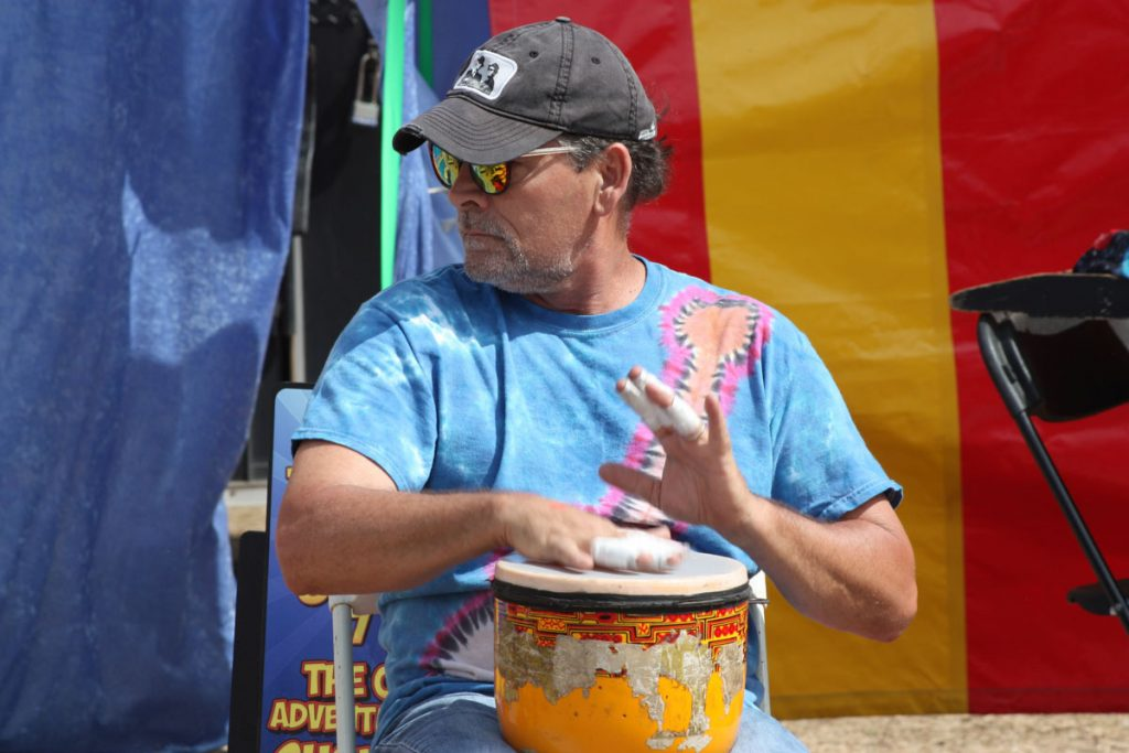 a drummer at the st augustine lions seafood festival