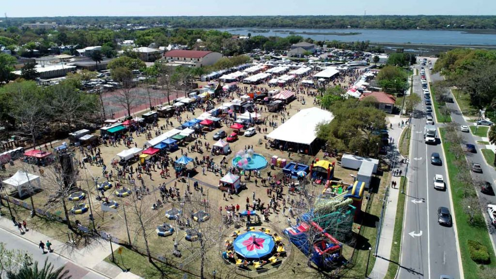 aerial shot of st augustine lions seafood festival