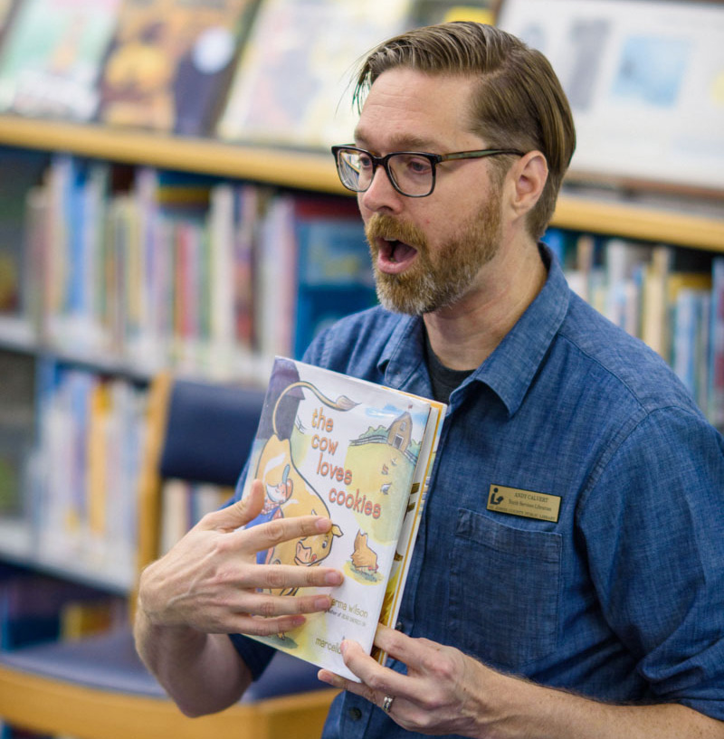 librarian andy calvert hosts storytime at the st johns county library