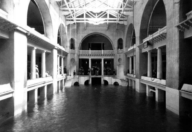 an historic view of the lightner museum pool