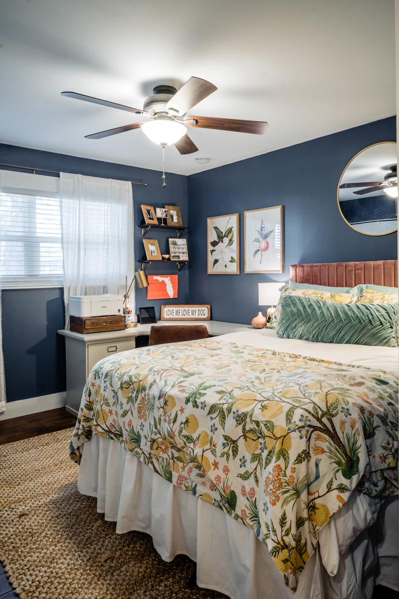 blue and yellow florida guest room in davis shores renovation