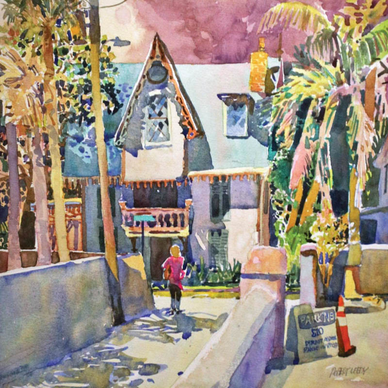 an oil painting of a street in st augustine florida