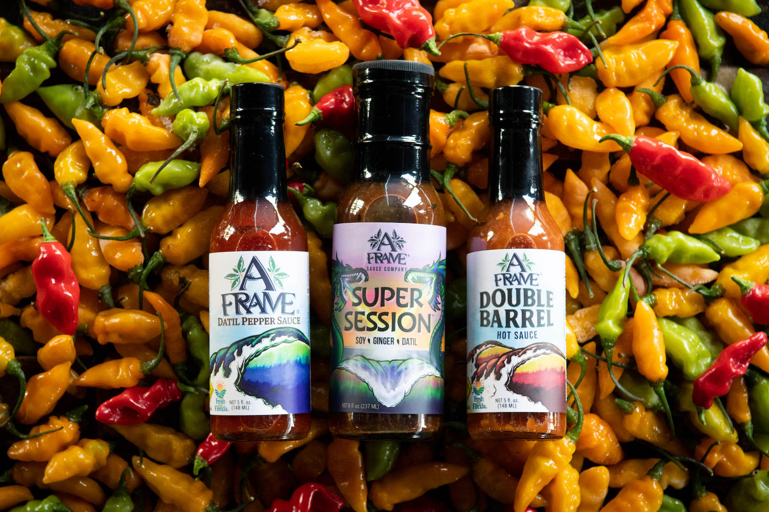 an overhead shot of three different a frame datil hot sauces on a bed of datil peppers