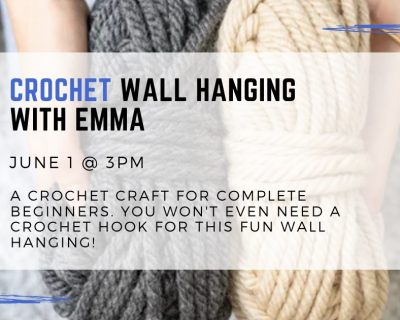 graphic for crochet wall hanging with emma at the st johns county library