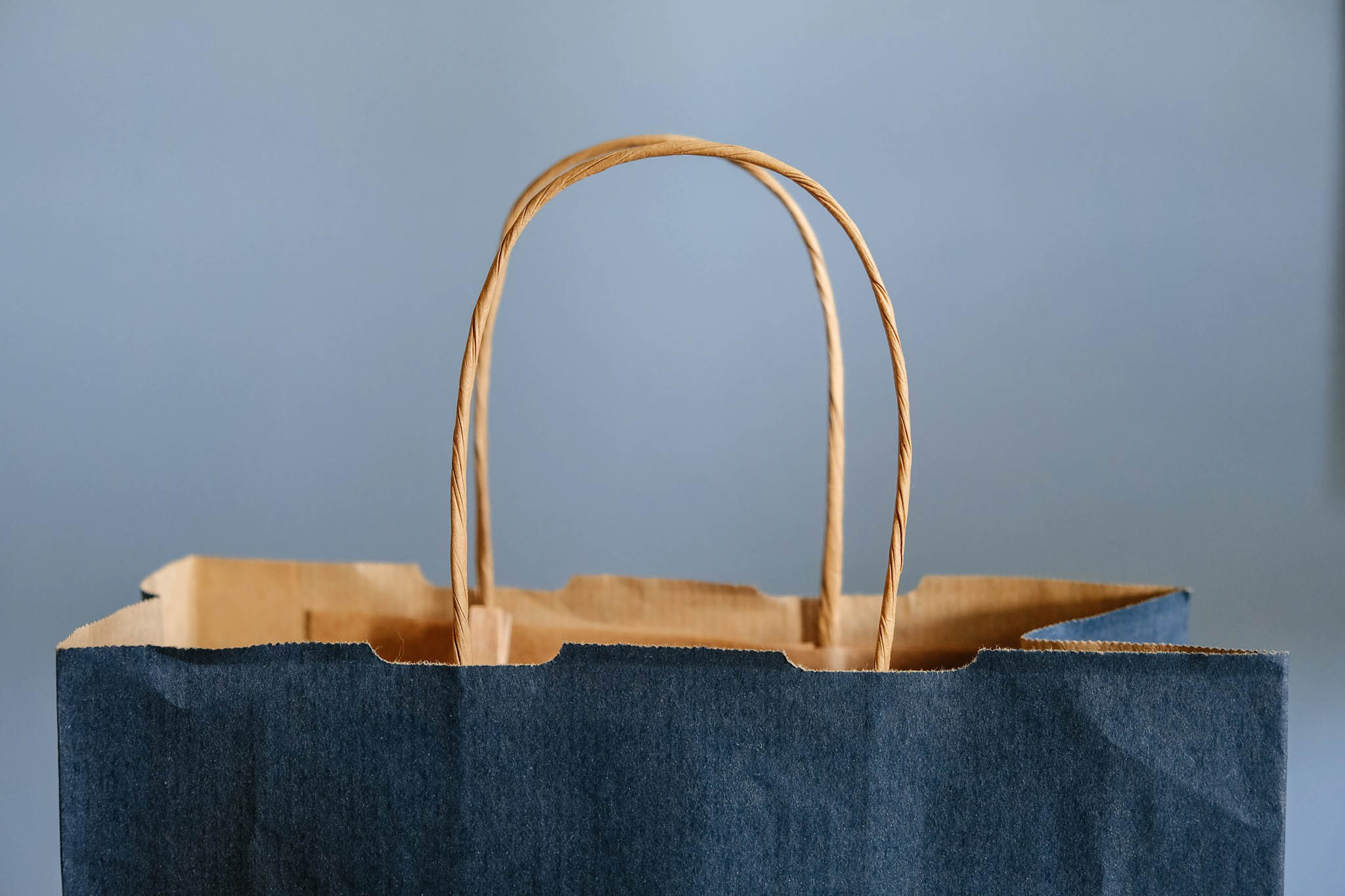 a blue paper bag on a blue background