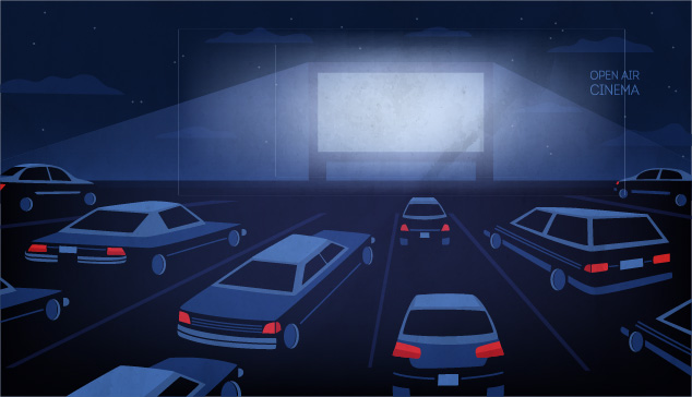 illustration of drive in movies